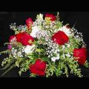 9 Red Roses all round arrangement