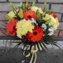 OrangeGerbera&YellowPompom Mixed w GlassVase