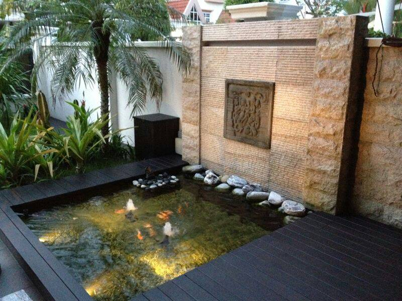 Water Wall Feature Pond with under gravel sand filter