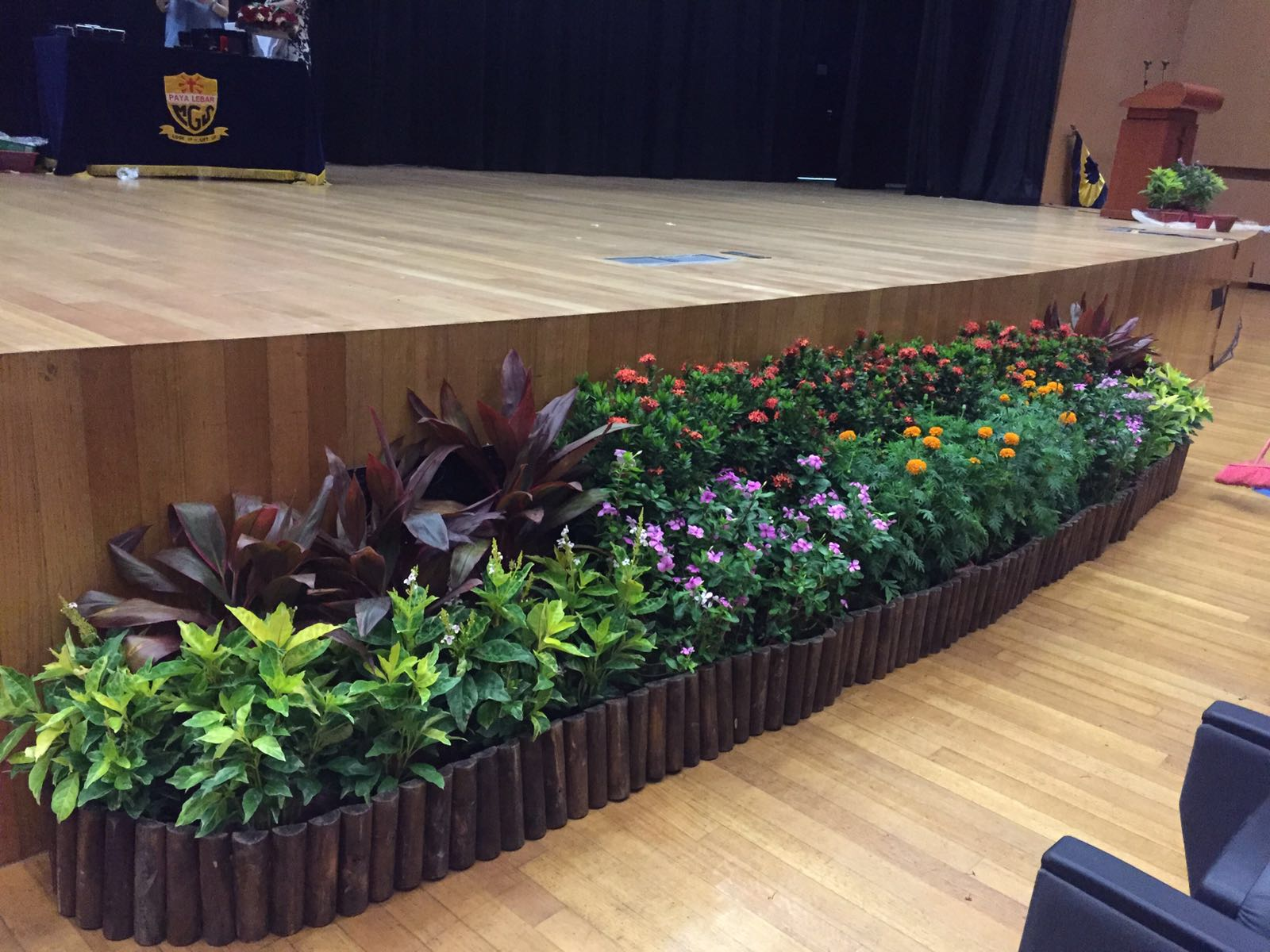 Stage Front Grouping with Wooden Skirting